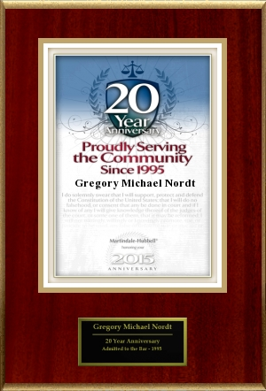 Greg Nordt 20 Years of Service Award Image